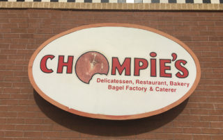 Chompie's Delicatessen cabinet sign