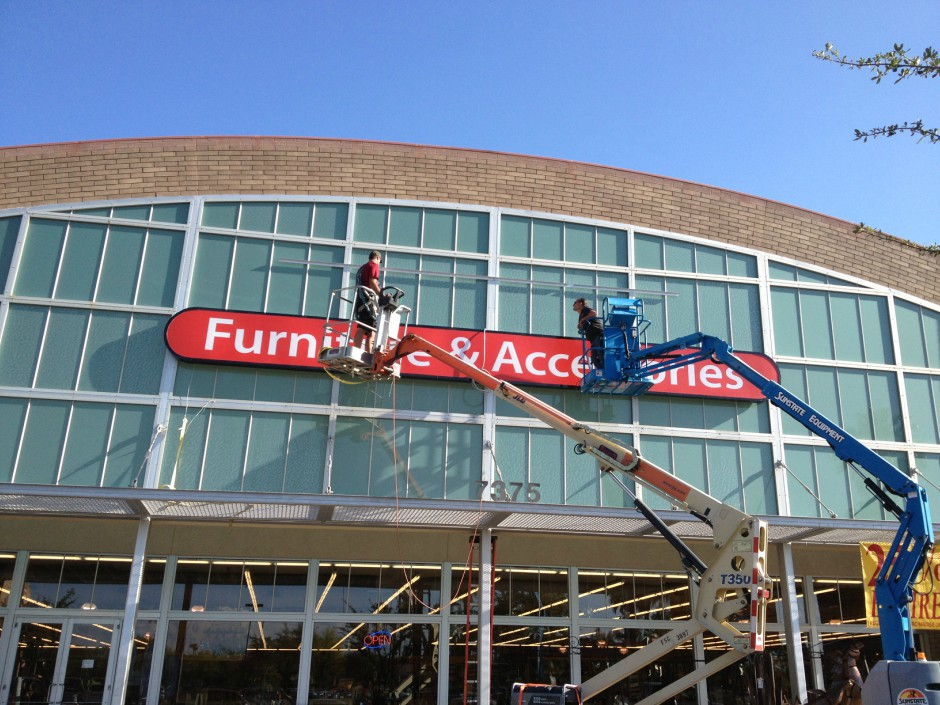 Installation of exterior illuminated sign