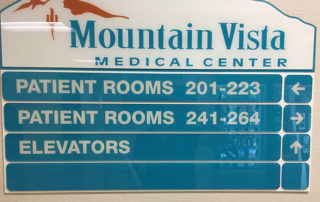 Acrylic Directional sign in teal and white