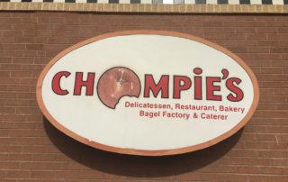 Chompie's Delicatessen cabinet sign