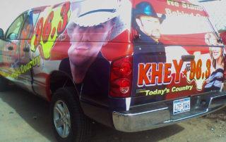 Vehicle graphics on KHEY radio van